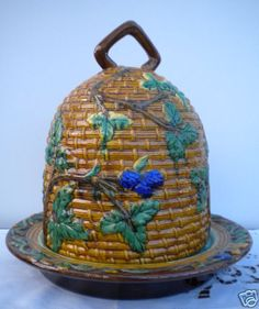 Hive shaped cheese dome and dish. Minton