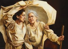 Painting of Ruth sheltering and protecting  the older woman Naomi