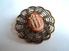 Vintage THREE GRACES Cameo & GOLD FILIGREE Goldtone SCARF CLIP Ring c.1960s-80s