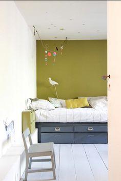 wall colors, color palett, bedroom idea, green walls, bedroom colors, green kids room, kid rooms, oliv, feature walls