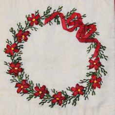 silk ribbon wreath embroidery by Valerie Bothell | Pink Bunny
