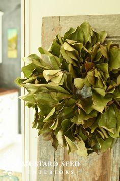 Love this fresh magnolia wreath. Just in time to hang for Spring. Can I have one too Marian?