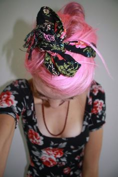 #pink #hair #bow #head #band #floral
