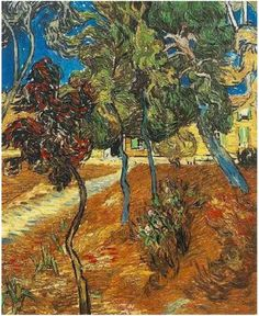 Trees in the Garden of Saint-Paul Hospital Vincent van Gogh Painting, Oil on Canvas Saint-Rémy: October, 1889