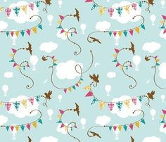 Most adorable fabric! Birds flying with bunting or pennants amongst white silhouettes of clouds and hot air balloons.