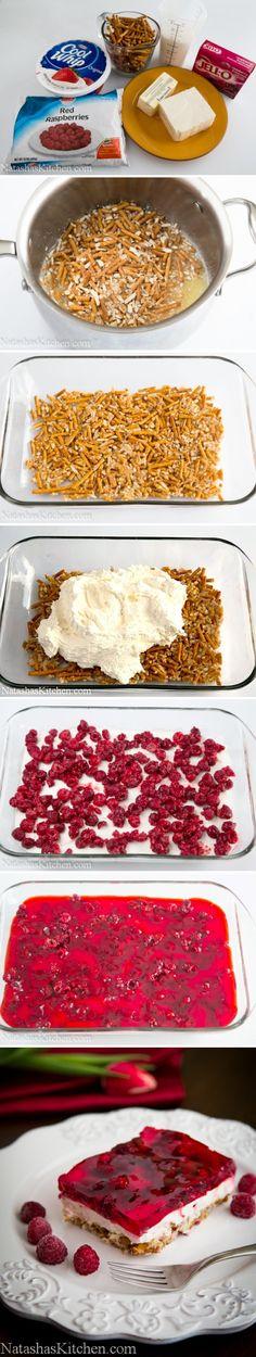 Raspberry Cream Cheese Pretzel Jello