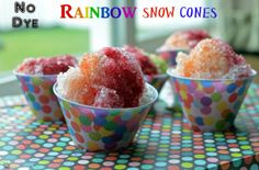 All Natural- No Dye- Rainbow Snow Cones! | Recipes