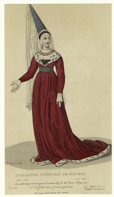 1400's fashion - Euriante, Countess de Nevers (1408-1468) the print is from 1836