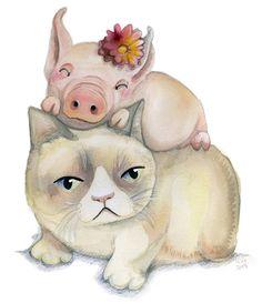 """Grumpy Cat With Happy Piglet"" by Elli Maanpaa from Helsinki, Finland  #cat #cats #catart #kitten #art #illustration #painting #watercolor #grumpycat"