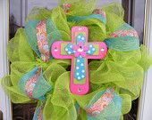 craft, colors, cross deco, churches, easter wreaths, bedrooms, deco mesh wreaths, spring cross, easter ideas