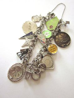 Sterling Silver Vintage Charm Bracelet by JeepersKeepers on Etsy, $105.00