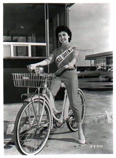 Annette Funicello rides a bike-this is a great site if you're looking for movie stars taking a spin.