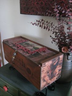 Photo transfers onto wooden wine boxes.