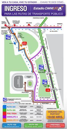 Mapa de transportacion Estadio Omnilife