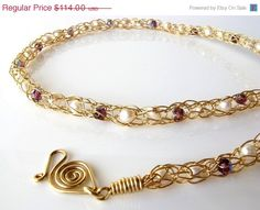 14K gold-filled wire crochet necklace with pearls and amethyst crystals, by DianaShyeJewelry, $85.50