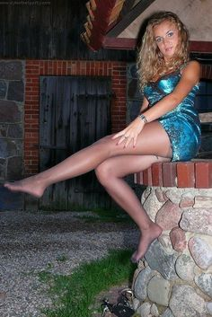 Legs, feet and pantyhose - beautiful girls wearing nylon tights
