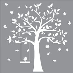 Nursery Wall Decal - Children's Tree Decal with butterflies and birds - wall decal