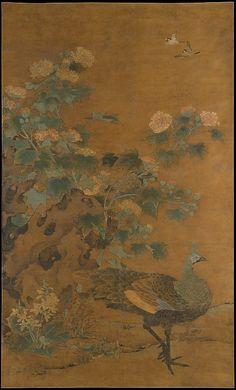 Peacock and Hollyhocks  Bian Lu  (Chinese, died 1356)