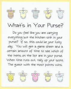 Baby Shower Game - What's In Your Purse?
