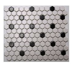 Satinglo Hex White/Black Ceramic Floor Tile at Lowes