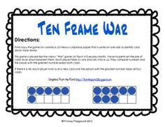 the game, games, classic war, classroom decor, ten frames, twist, war game, number, decor idea