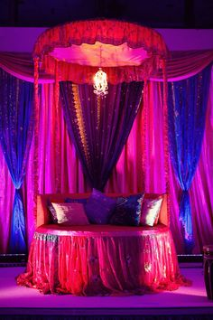 holud decor? beds, indian weddings, colors, mehndi decor, colorful weddings, blues, canopies, aladdin, parti