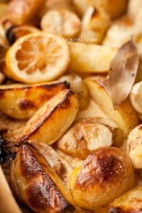 Lemon-Roasted Potatoes & Jerusalem Artichokes with Bay and Garlic. From http://cooking-spree.com/