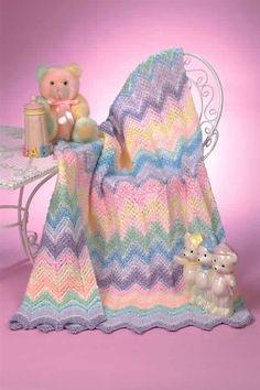 Sherbet Ripple Baby Blanket free crochet pattern