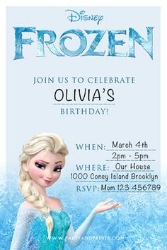 Party and Prints | Free Frozen Printable Invitation | http://www.partyandprints.com