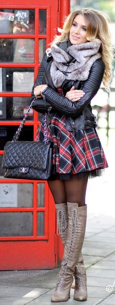 Plaid dress with tulle underneath?  I love this.
