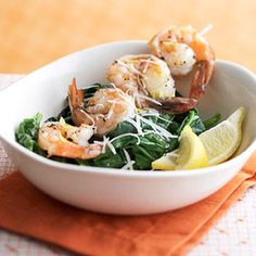 Garlic Shrimp on Spinach