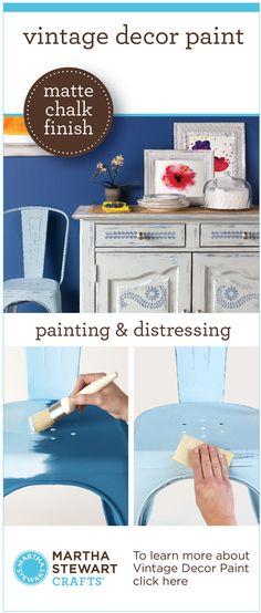 Learn how to paint and distress with new Martha Stewart Crafts® Vintage Decor Paint with a Matte Chalk Finish, Wax and Stencils in @MichaelsStores -  great for #diy furniture, #crafts and home decor projects #plaidcrafts #marthastewart #marthastewartcrafts
