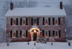 holiday, christmas time, winter, window, dream homes, brick, candl, dream houses, christmas houses