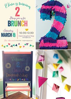 brightly colored geometric brunch (with a doughnut bar!!)