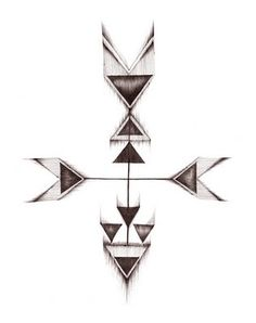 North east south west Compass tatoo with geometric shapes
