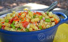 Pasta-Salad-eMeals; Veggie Pasta salad