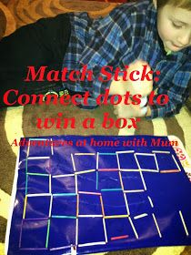 Adventures at home with Mum: Match Stick Connect the dots