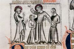 Franciscan Missal,14th Century  I thought this may be an example of Biblical characters or saints being depicted in Roman garb.