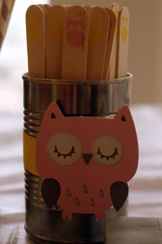 Wooden forks by Sucre & Spice on etsy.  Owl Baby Shower by Pinwheel Lane on etsy