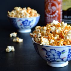 Sriracha Popcorn - this is the healthiest and lowest fat Sriracha Popcorn recipe you'll find!  Thanks to a special popping trick you'll love!