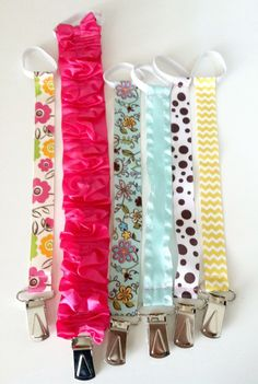 Easy + super cute DIY Pacifier Clips! {thecelestenest.com} #diy #pacifierclip #handmade #craft #baby