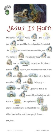 """Jesus is Born"" story that little ones can help you read"