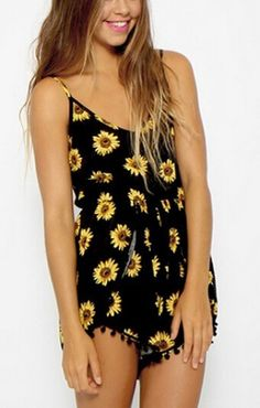 Sunflowers Printing Black V-neck Spaghetti Strap Cotton Jumpsuit