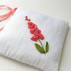 Lavender Sachet Coral Flowers silk ribbon embroidery by bstudio on Etsy