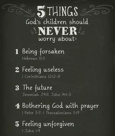 ❥ 5 Things a Child of God should NEVER worry about