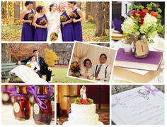 A fall wedding with purple details.