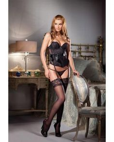 Lace Basque w/Underwire Cups, Satin Ribbon and Removable Garters Black MD