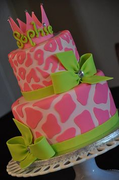 Pink on Pink Princess Cake w/ Green Bows by Designer Cakes By April, via Flickr
