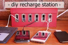 {diy} Tuesday – Recharge Station For All Of Your Devices | http://www.tashachawner.com/diy-tuesday-recharge-station-for-all-of-your-devices/