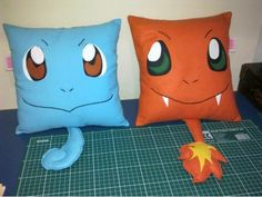 Squirtle and Charmander pillows